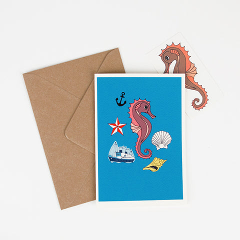 Seahorse greating card and tattoo