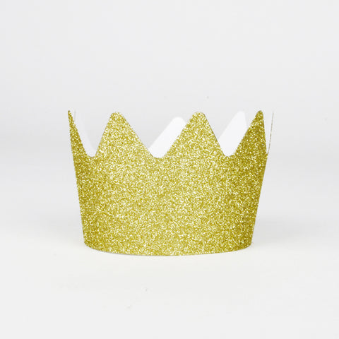8 glitter crowns - Gold