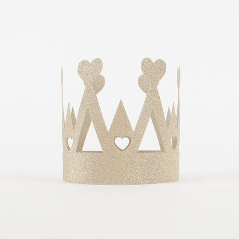 Paper crown - Gold glittery hearts