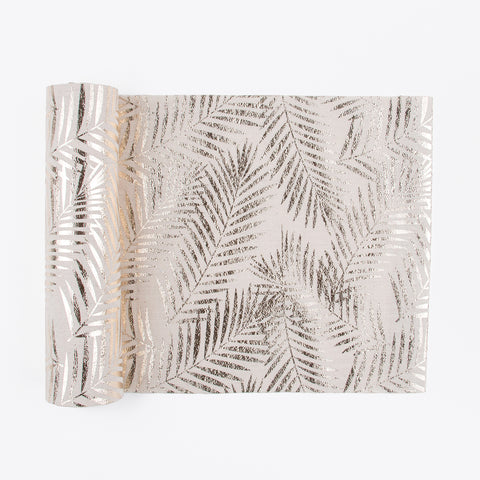 1 table runner - champagne palm leaves