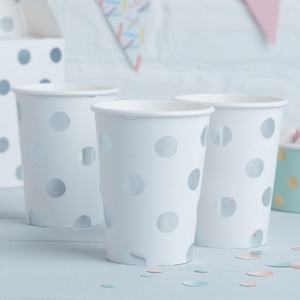 8 Paper cups - Silver foiled spotty