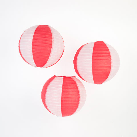 3 Chinese lanterns - Red and White Stripes