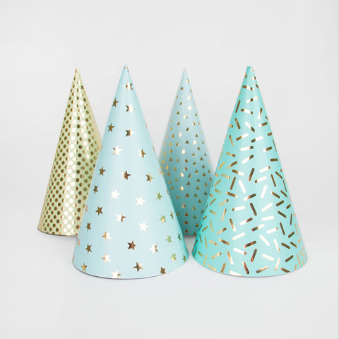 8 party hats - Blue foil