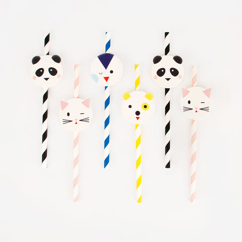 12 paper straws - Mini animals