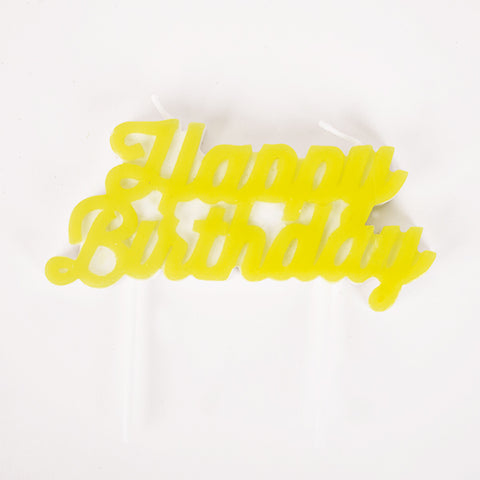 1 candle - Happy Birthday - Yellow
