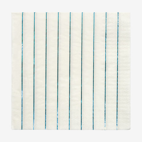 16 napkins - Holographic Blue Stripe
