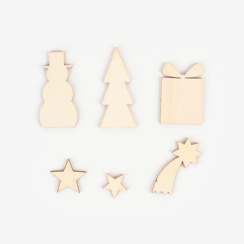 6 wooden decoration - Christmas mix