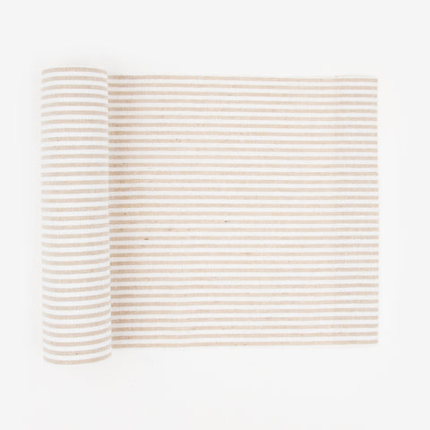 1 linen table runner - White & beige striped