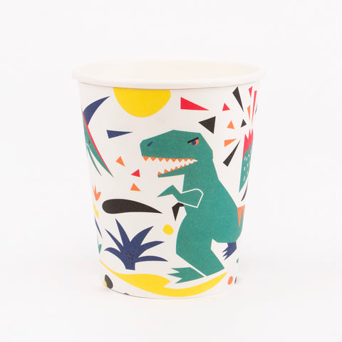 8 paper cups - dinosaur