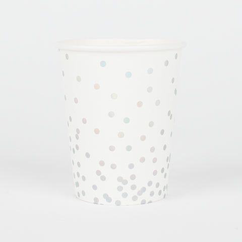 12 cups - Holographic polka dots