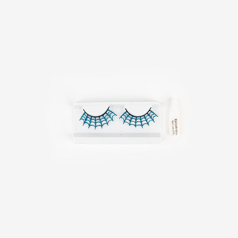 False eyelashes spiderweb - blue