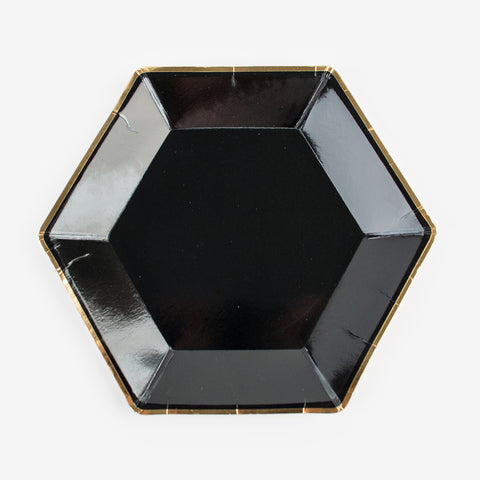 6 hexagonal plates - Black and gold