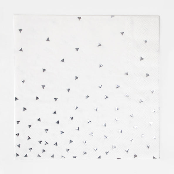 16 paper napkins - Foil silver triangles