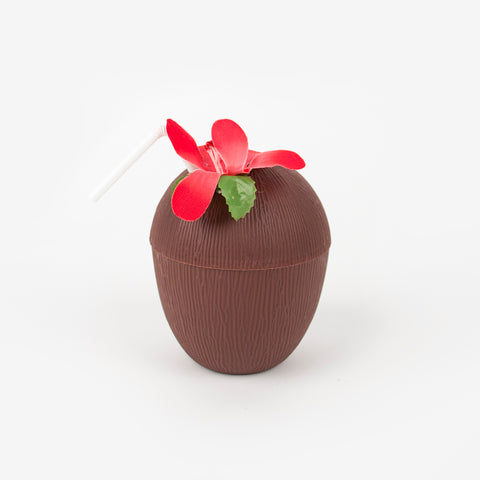 1 plastic cup with straw - Coconut and flower