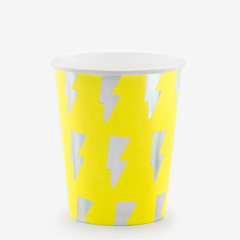 6 flash paper cups - Neon yellow