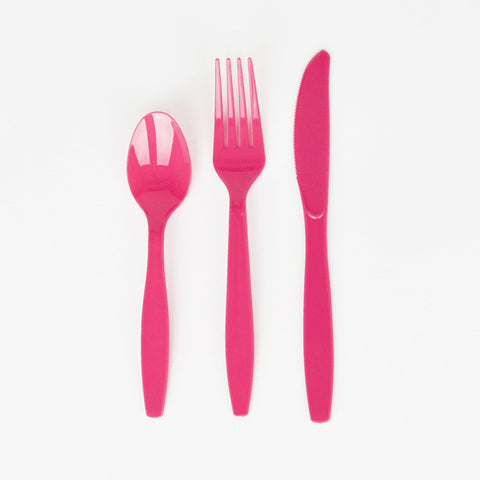 24 cutlery pieces - Bright pink