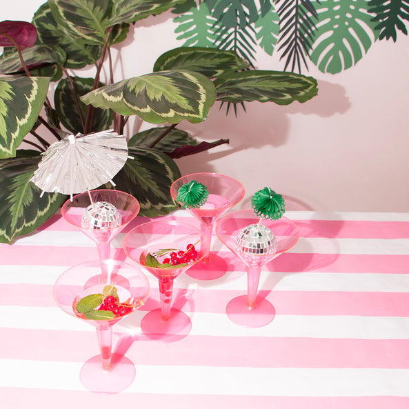 10 plastic cocktail glasses - Neon Pink