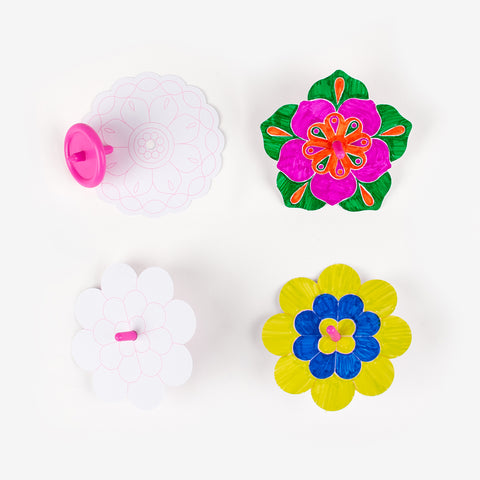 4 DIY spinning tops - Flowers