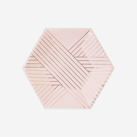 8 small plates - Pink with rose gold stripes