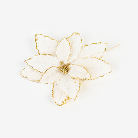 1 Christmas Linen Flower - Gold Spangle