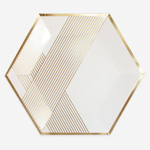 8 plates - White with gold stripes