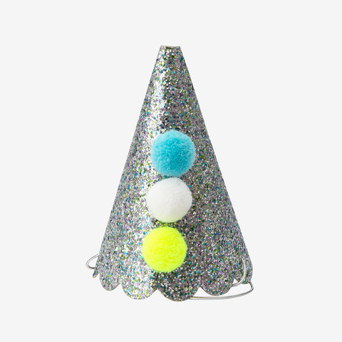 8 party hats - Pompoms