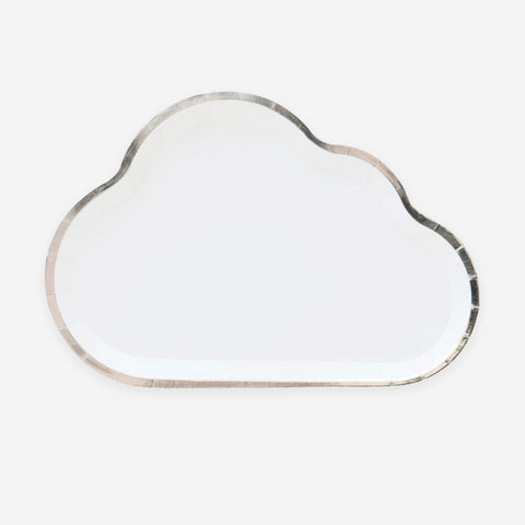 8 cloud plates - White and silver