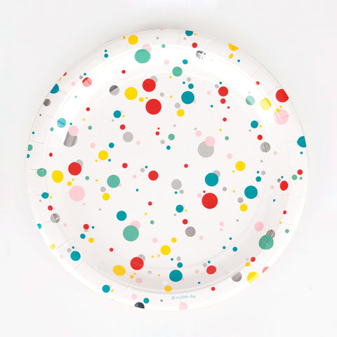 8 paper plates - Multicoloured bubbles