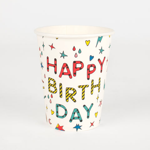 8 paper cups - Happy Birthday