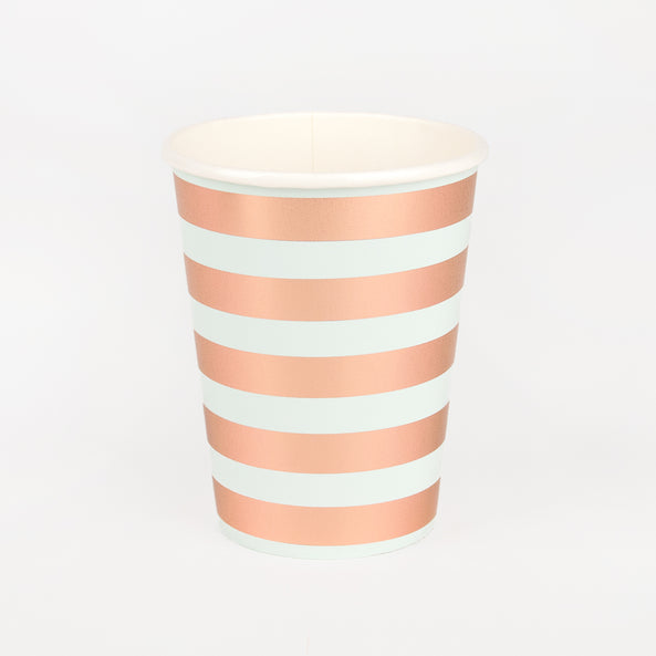 8 Paper cups - Foiled rose gold