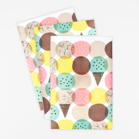3 sheets of wrapping paper - Ice cream