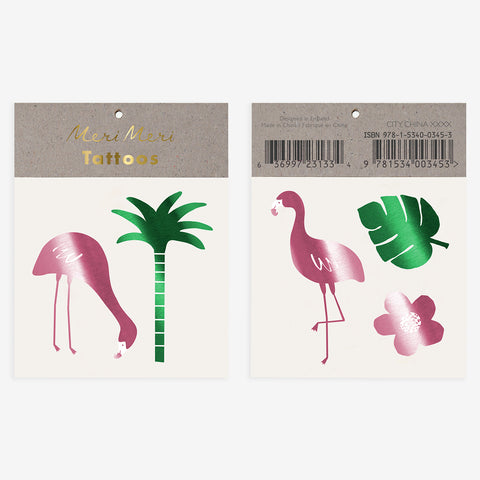 2 tattoo sheets - Tropical flamingo