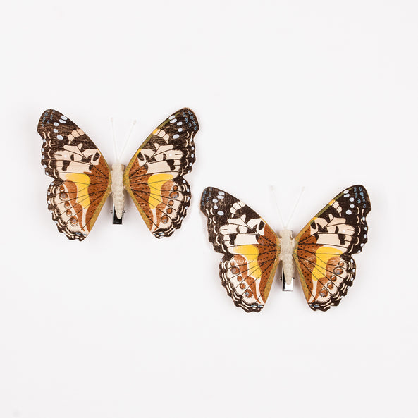 2 butterfly clips - Chocolate and yellow