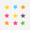 9 edible cupcake toppers - Multicoloured stars