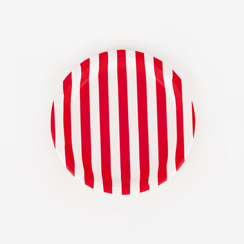 8 red striped paper plates