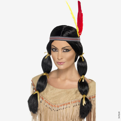 Indian wig with mat and headband - black