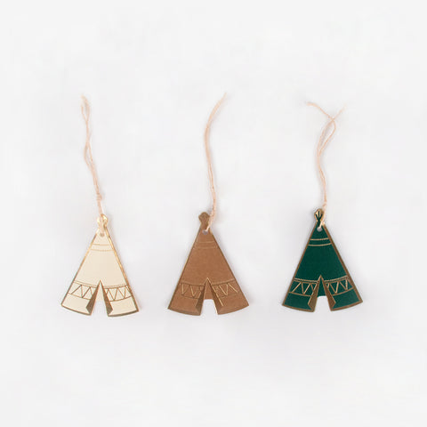 8 gift tags - Indian teepee