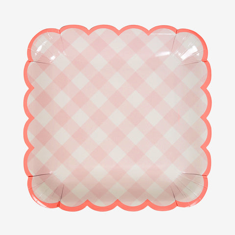 12 square plates - Pink Gingham