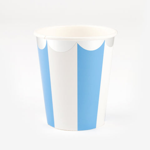 8 cups - Blue stripes & silver
