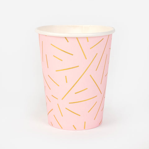 8 paper cups - gold lines