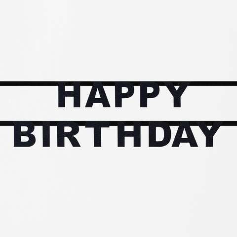 Black glitter garland - Happy Birthday
