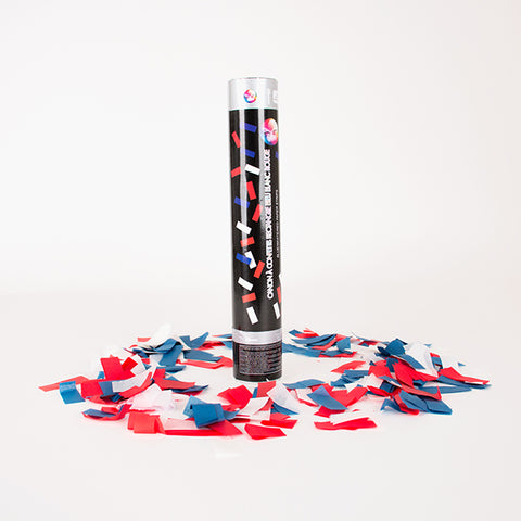 Confetti cannon - Blue, white and red
