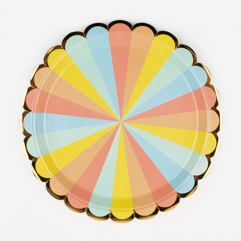 8 plates - Pastel candy stripes