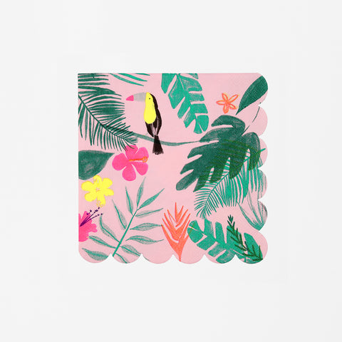 20 small napkins - Pink tropical