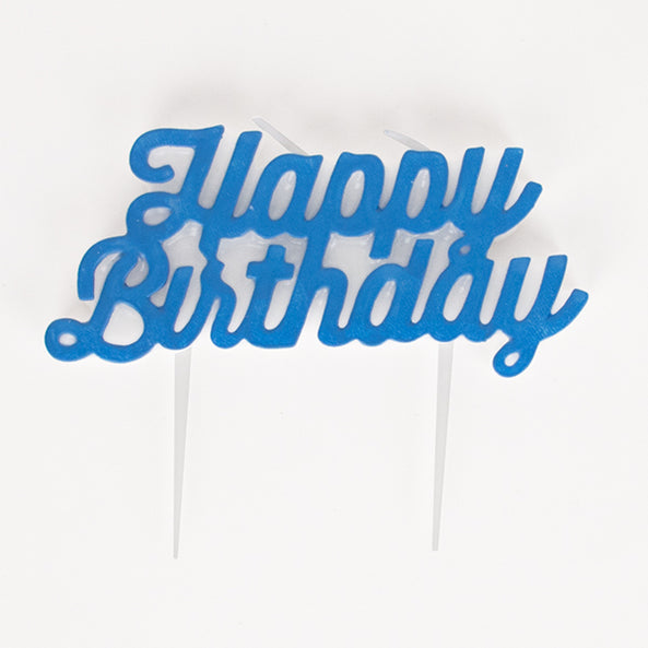 1 candle - Happy Birthday - Blue