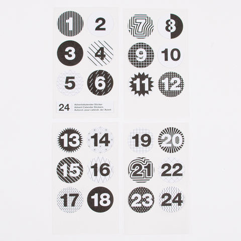 Advent calendar stickers - Black and white