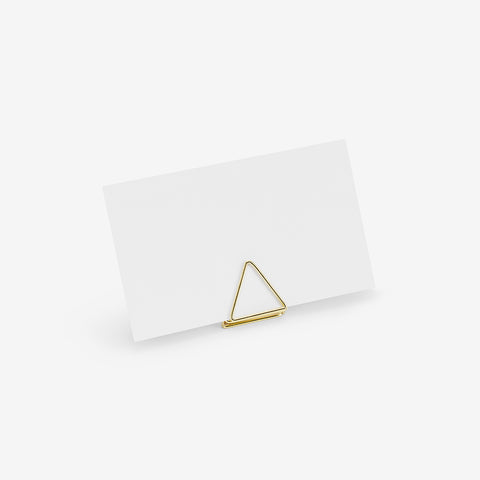10 place card holders - Gold triangle