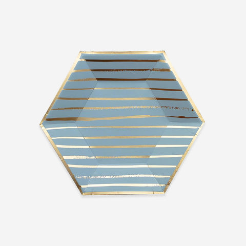 8 small plates - Blue with gold stripes
