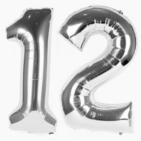 Big foil balloon - Number - Silver