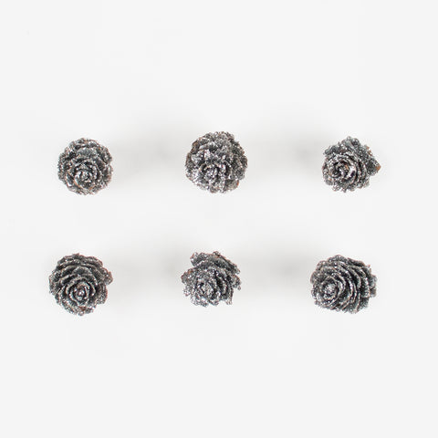 6 Christmas decorations - Silver glitter pine cone